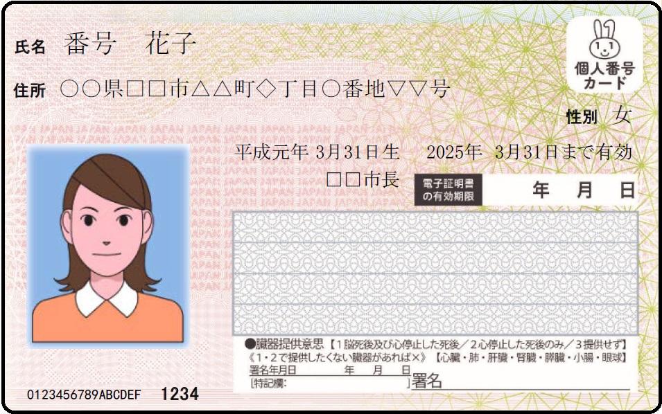 マイナンバーカード(表)イメージ図