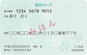 通知カード(表)イメージ図